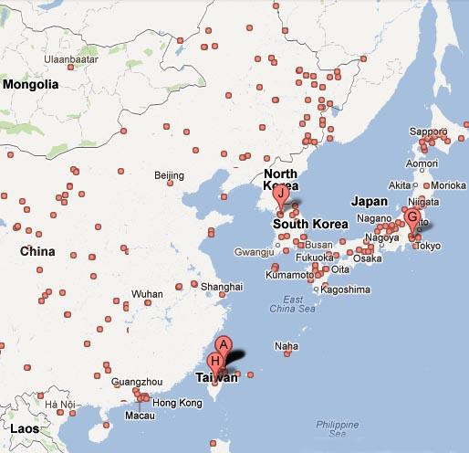 North Korea Japan South Korea Hong Kong Mangolia Macau Osaka Beijjin